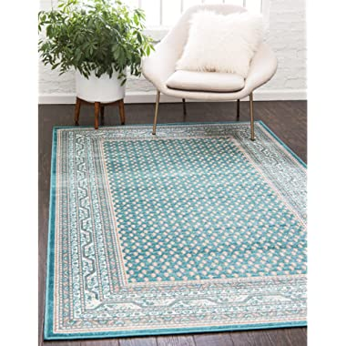 Unique Loom Williamsburg Collection Traditional Border Teal Area Rug (8' x 10')