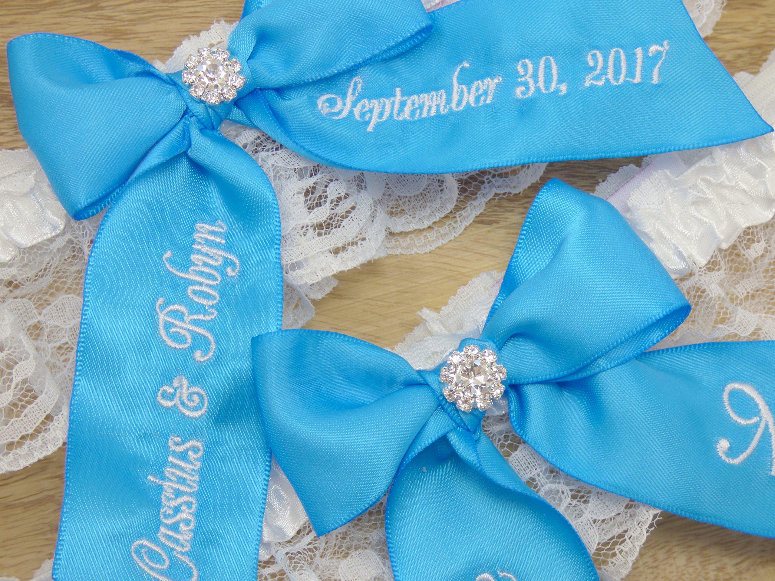Blue Jewel Bridal Garter, You're Next Wedding Garter Set, Custom Garters, Something Blue