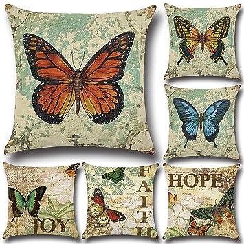 Amazon.com: Fabricantes venta bonita mariposa cojín de sofá ...