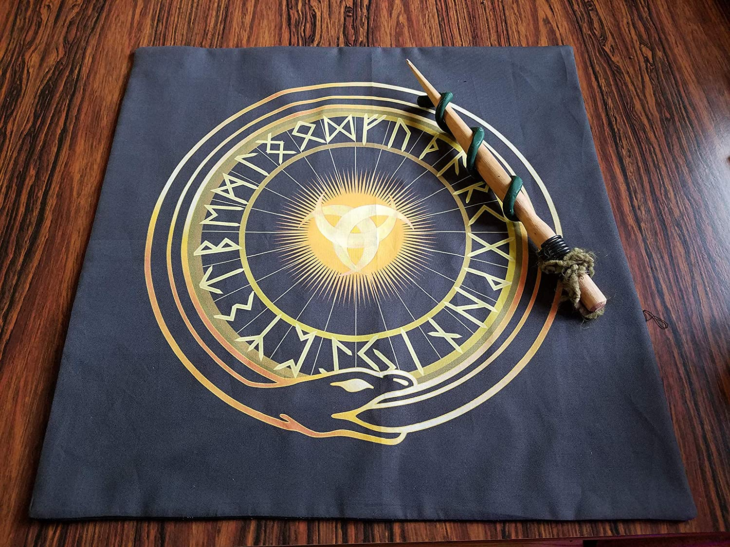 Golden Runes Pagan or Asatru Altar Cloth with Runes Altar Cloth or Tarot Cloth