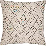 """Rivet Abstract Geometric Throw Pillow, 20"""" x 20"""", Cover Only, Ivory"""
