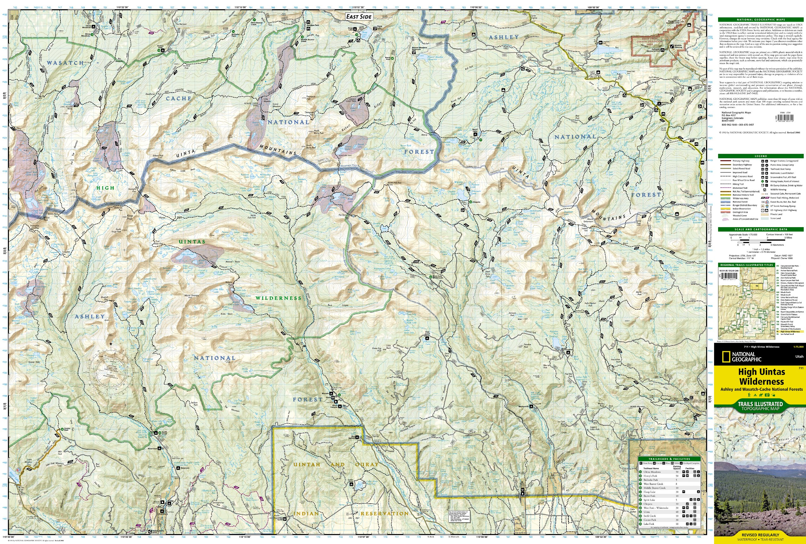High Uintas Wilderness Map: National Geographic Maps - Trails ...