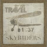 "Amazon Brand – Stone & Beam Vintage 'Travel by Air' Aviation Poster, Antiqued Wood-Tone Frame, 20"" x 20"""