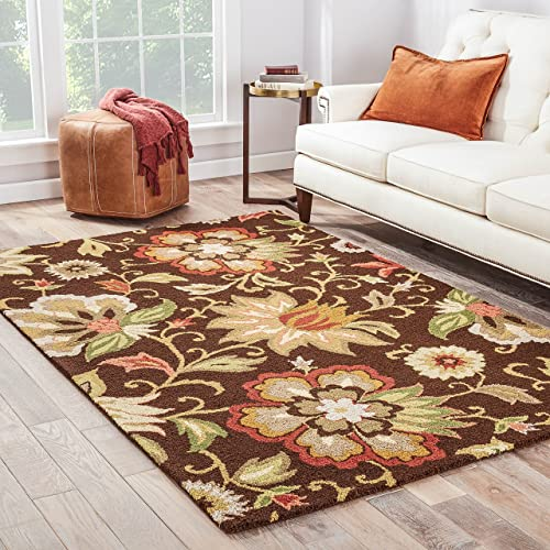 Jaipur Living Zamora Handmade Floral Brown Multicolor Area Rug 8 10 X11 9