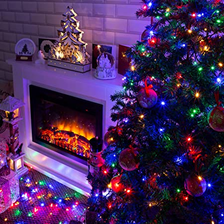 The Christmas Workshop 70340 Multi Coloured Outdoor Christmas Lights 100 Led Christmas Tree Lights 9 9 Metres Long Battery Operated Indoor Outdoor Home Christmas Decorations 8 Light Modes Amazon Co Uk Garden Outdoors