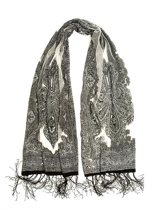 Victorian Hand Fan, Gloves, Belt Accessories Fringed Sheer Burnout Fleur de Lis Scarf $13.95 AT vintagedancer.com
