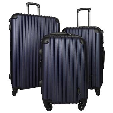 3 PC Luggage Set Durable Lightweight Spinner Suitecase LUG3 9018 NAVY