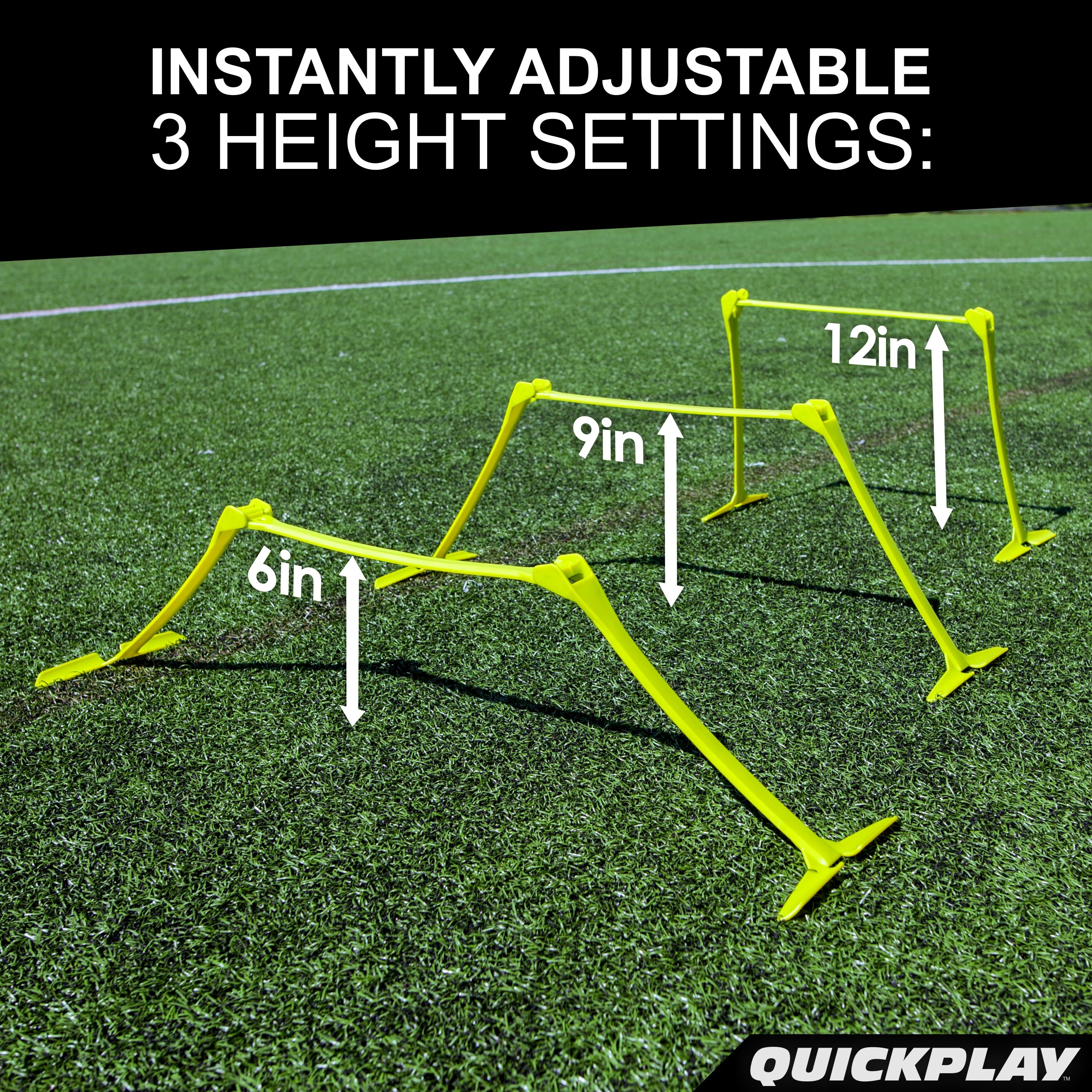 QuickPlay PRO Adjustable Height: 6'', 9'' + 12'' All-in-One Speed Hurdles (Set of 6) Speed Training Hurdles, Agility Hurdles and Plyometric Hurdles by QuickPlay (Image #2)