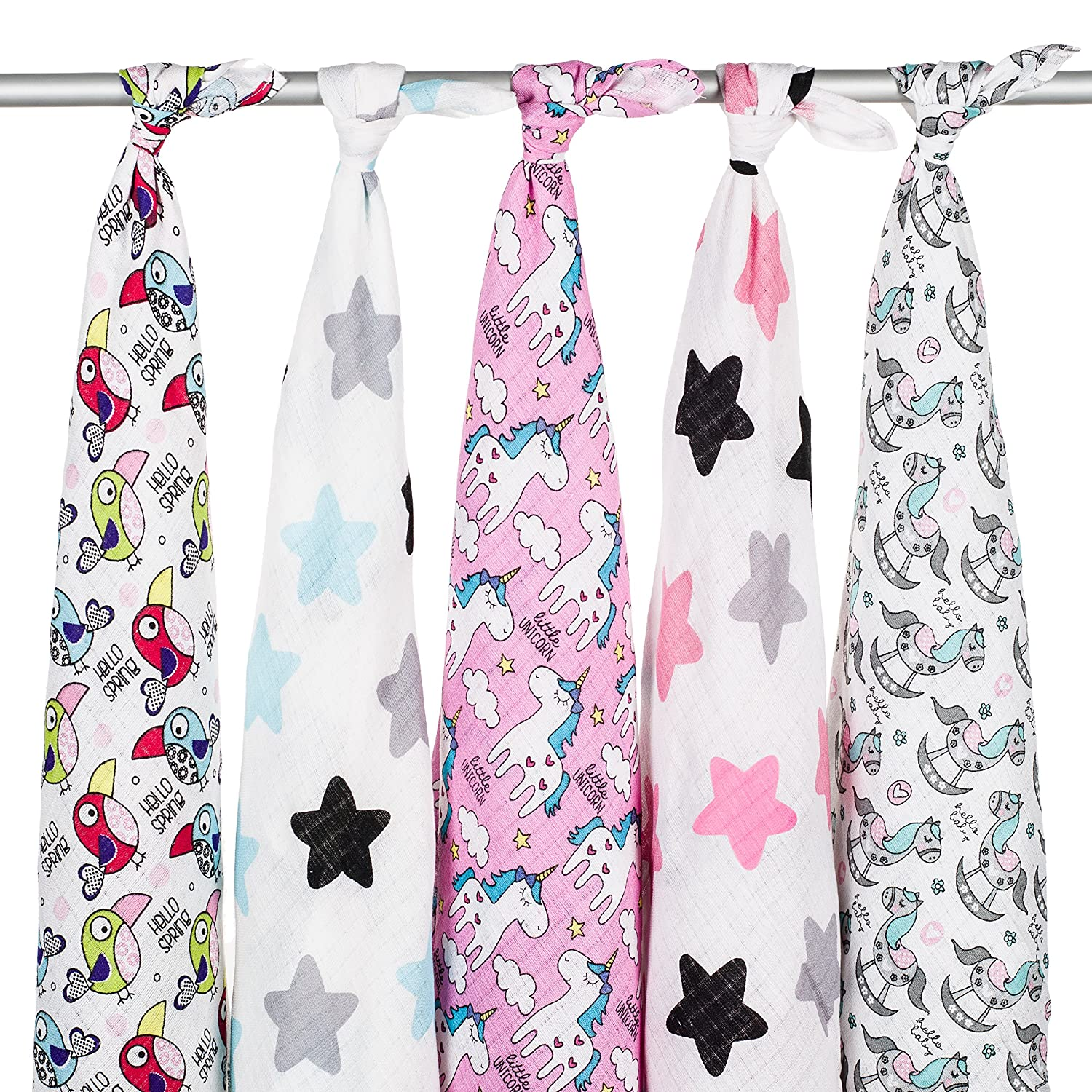 Bib/… Towel Blanket High Quality 5 x 100/% Soft Cotton Baby Muslin Squares Changing Mat Multiply use: Wrap Cover Nappy Little Star Set Face Cloth Large 80x70