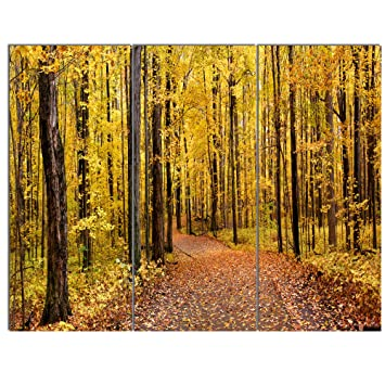 Amazon.com: Bright Autumn Forest Panorama Modern Forest Canvas Art ...