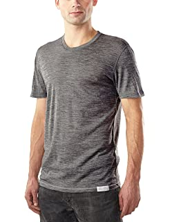 73359edf Woolly Clothing Men's Merino Wool Crew Neck Tee Shirt - Ultralight -  Wicking Breathable Anti-