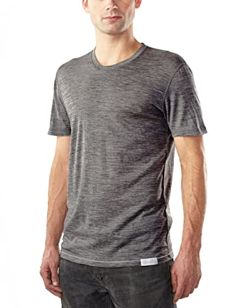 0409e629d4 Woolly Clothing Men s Merino Wool Crew Neck Tee Shirt - Ultralight -  Wicking Breathable Anti-