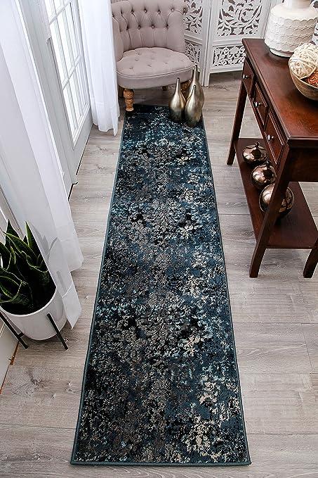 Modern Navy Blue Runner Rugs 2x8 Hallway Long Rug Blue Brown Beige Black  Rugs 2x7 Entrance