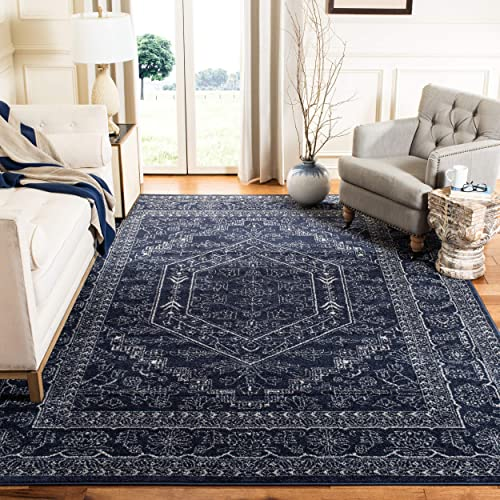 Safavieh Adirondack Collection ADR108N Navy and Ivory Oriental Vintage Medallion Area Rug 4' x 6'