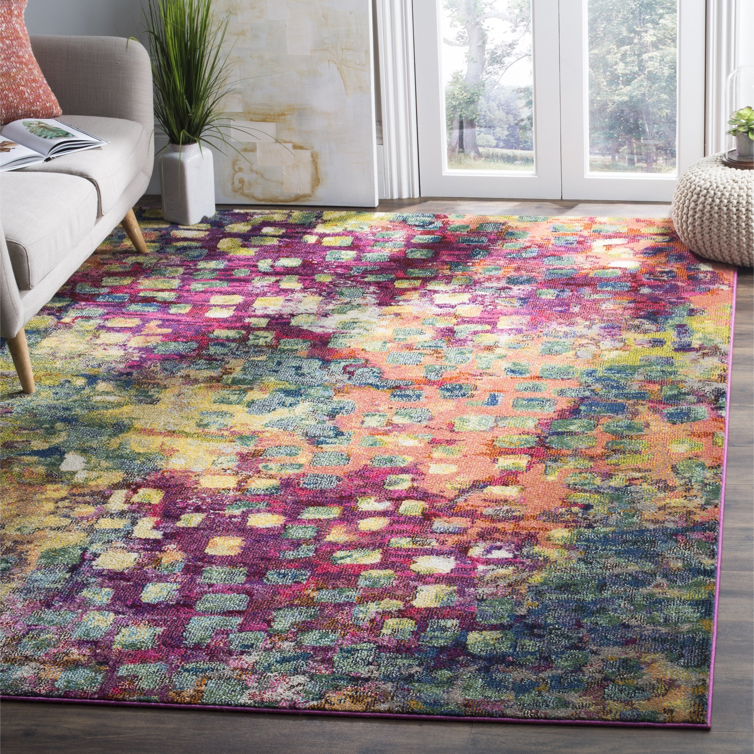 Safavieh Monaco Collection MNC225D Modern Abstract Watercolor Pink and Multi Area Rug (8' x 11') by Safavieh