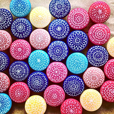 Hand-painted wooden knobs for cabinets, dresser, drawer pulls, shutters, boxes, boho mandala design, any color custom, bohemian/cottage/coastal/shabby chic (1 knob)