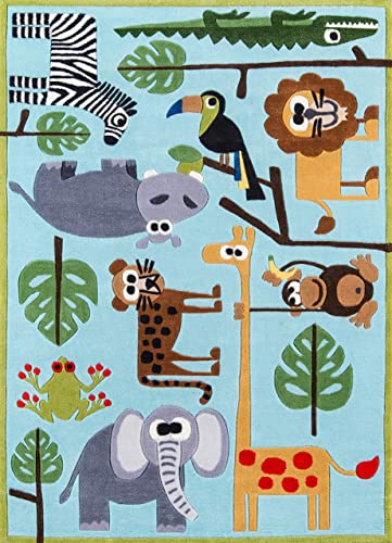 Momeni Rugs Lil Mo Whimsy Collection, Kids Themed Hand Carved Tufted Area Rug, 3 x 5 , Multicolor Jungle Animals on Blue