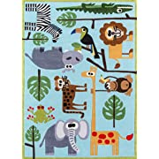 Momeni Rugs LMOJULMJ19BLU5070 Lil' Mo Whimsy Collection, Kids Themed Hand Carved & Tufted Area Rug, 5' x 7', Multicolor Jungle Animals on Blue