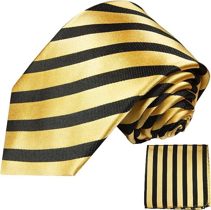 Goldenes Krawatten Set 2tlg 100/% Seidenkrawatte mit Einstecktuch by Paul Malone