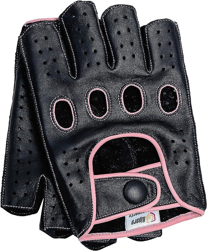 Riparo Women Fingerless Half Finger Driving Motorcycle Gloves Congac