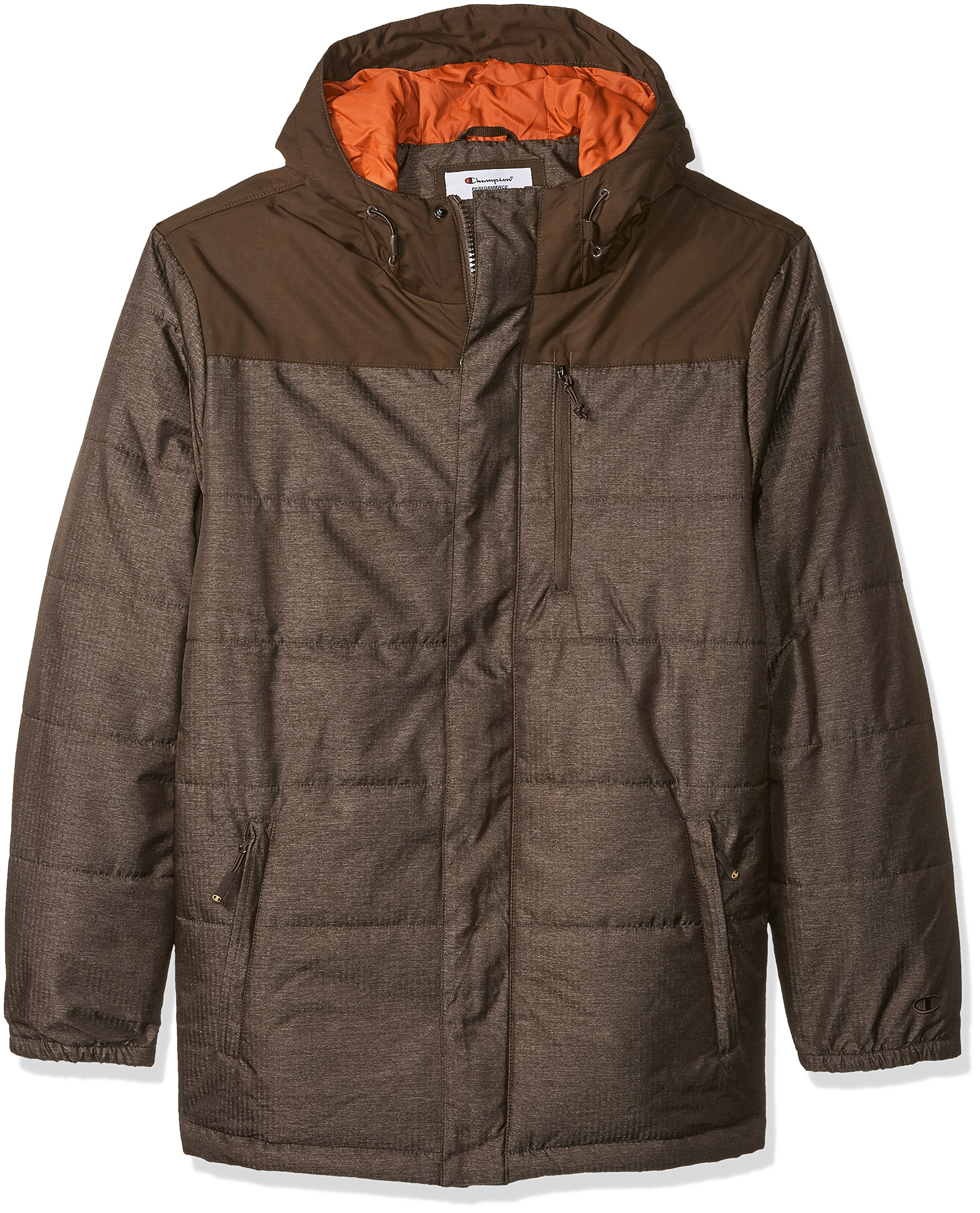 Champion Men's Size Tech Herringbone Quilted Puffer with Hood, Brown Heather, 2X-Large Tall