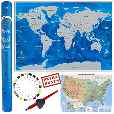 Amazon.com: Deluxe Gift Set: Scratch Off World Map 33x23 inch + USA ...