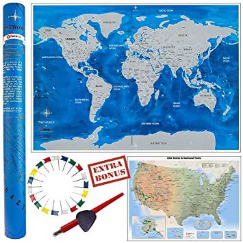 Amazon deluxe gift set scratch off world map 33x23 us deluxe gift set scratch off world map 33x23quot us travel map 2 gumiabroncs Images