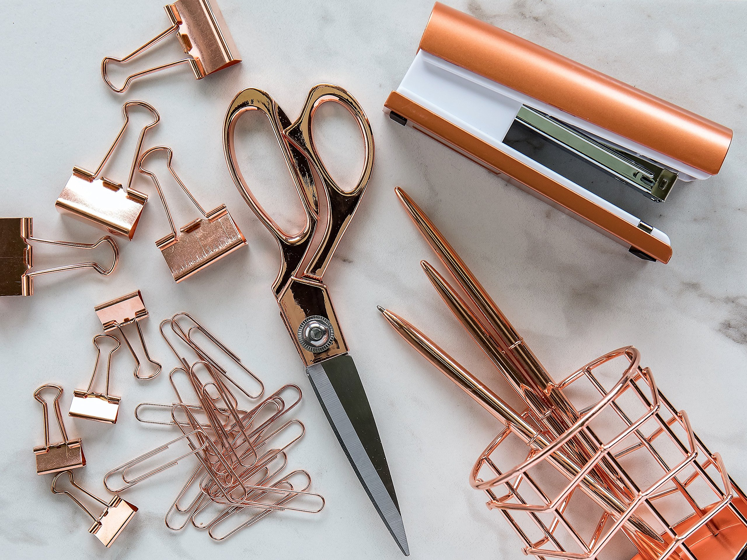 Rose Gold Desk Accessories | 7 Desktop Essentials (44 Items Total) | Office Supply Set & Organizer in Rose Gold Décor by Greenline Goods (Image #5)