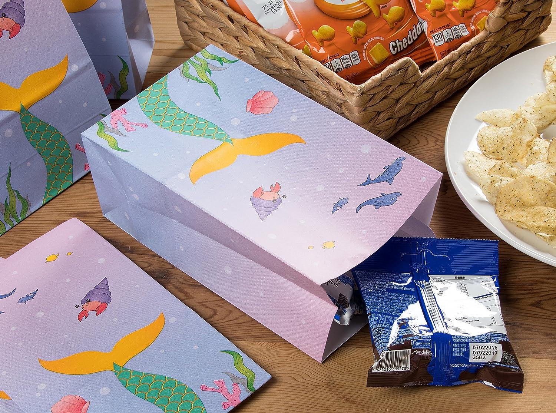 design sotto il mare Party Treat Bags Confezione da 36 sacchetti regalo a forma di sirena sacchetti di carta 13,2 x 22,9 x 8,4 cm riciclabili per bambini