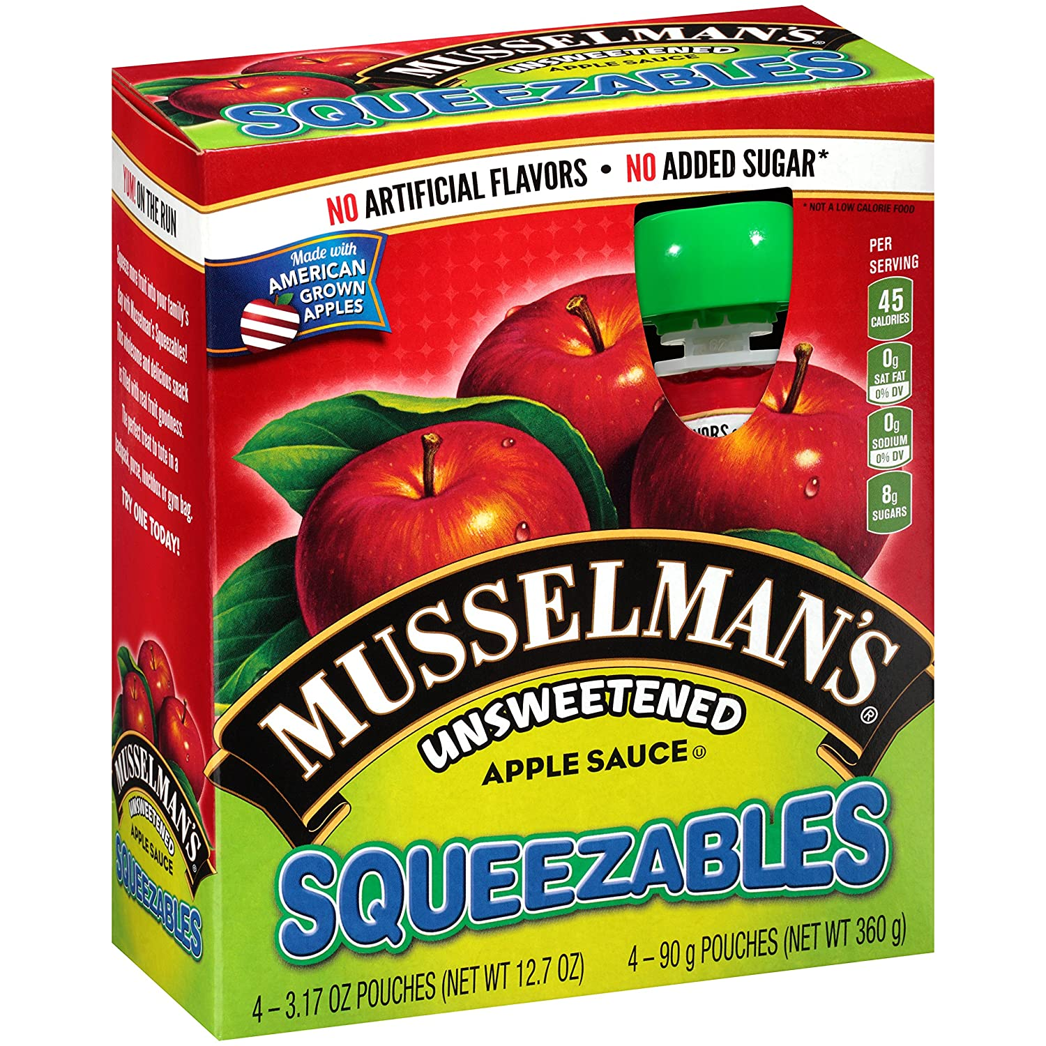 Musselman's Squeezable Unsweetened Apple Sauce Pouches, 3.17 Ounce (Pack of 6)