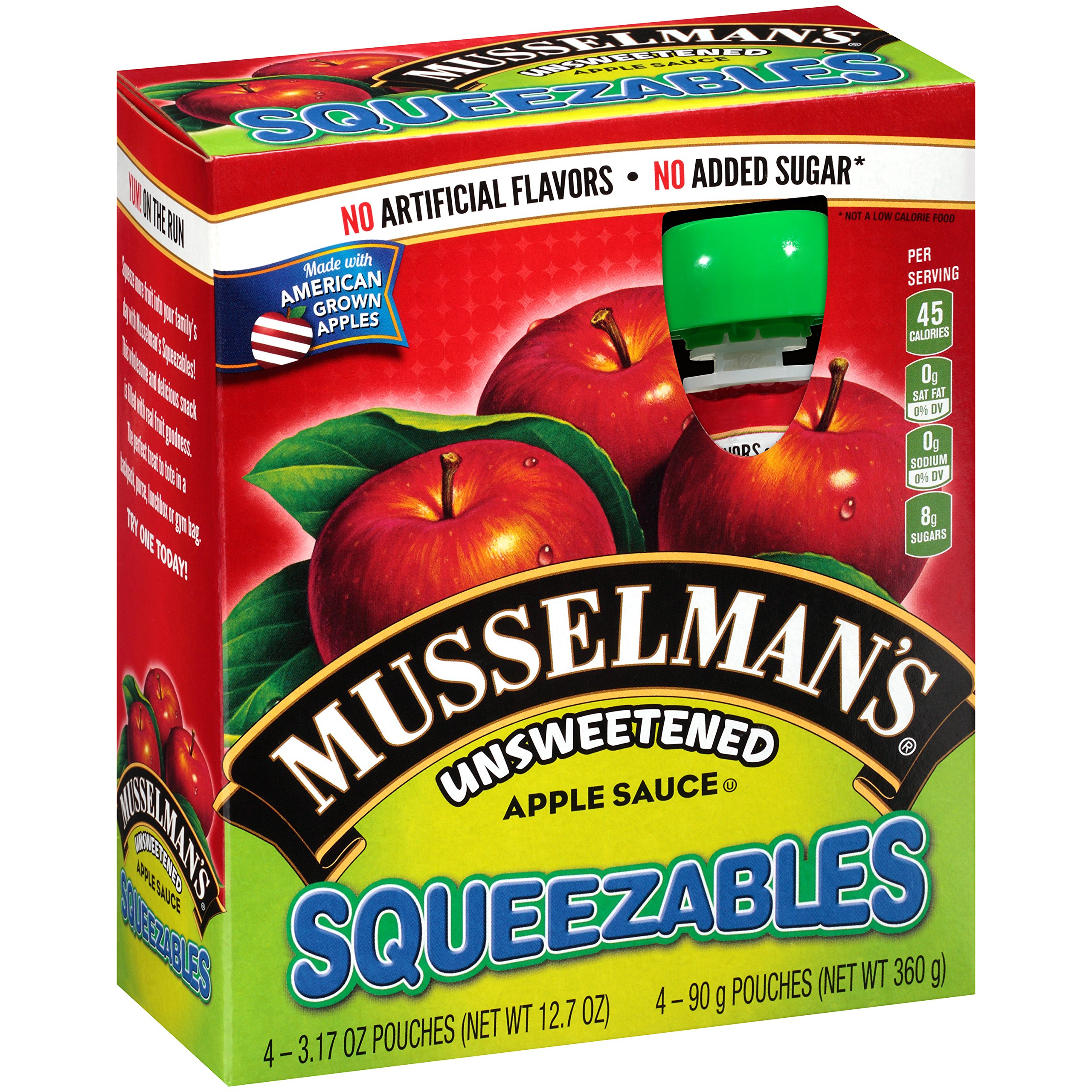 Musselman's Squeezable Unsweetened Apple Sauce Pouches, 3.17 Ounce (Pack of 6) by Musselmans