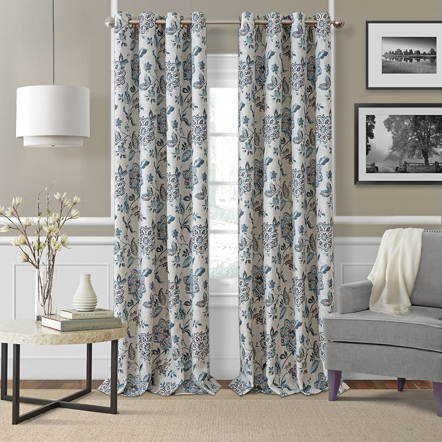 Amazon Com Elrene Home Fashions Room Darkening Grommet Linen Single Panel Window Curtain Drape 52 X84 Blue Taupe Home Kitchen