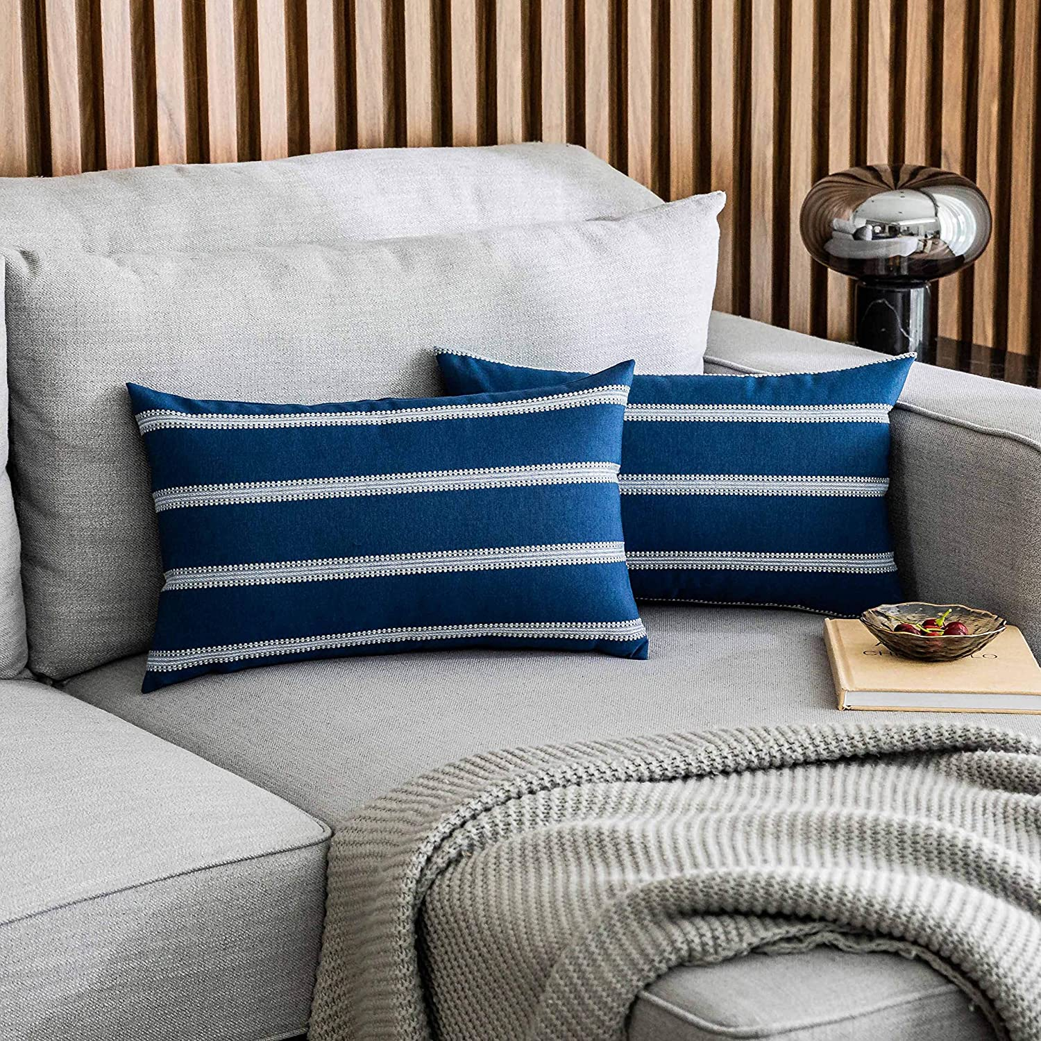 Home Brilliant Striped Farmhouse Decor Accent Decorative Throw Pillows Covers Cushion Covers for Outdoor Bench Couch Room, 2 Packs, 12 x 20 inches(30x50cm), Navy Blue