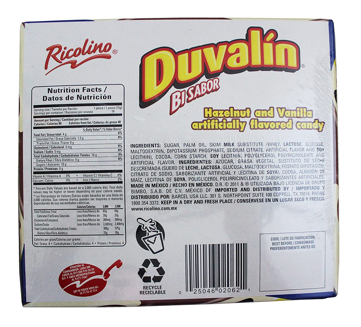 Amazon.com : Ricolino Duvalin Bi Flavor Hazelnut Vanilla Spread (2 Pack) : Grocery & Gourmet Food
