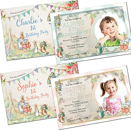 Peter Rabbit Birthday Invitations Envelopes Personalised Click