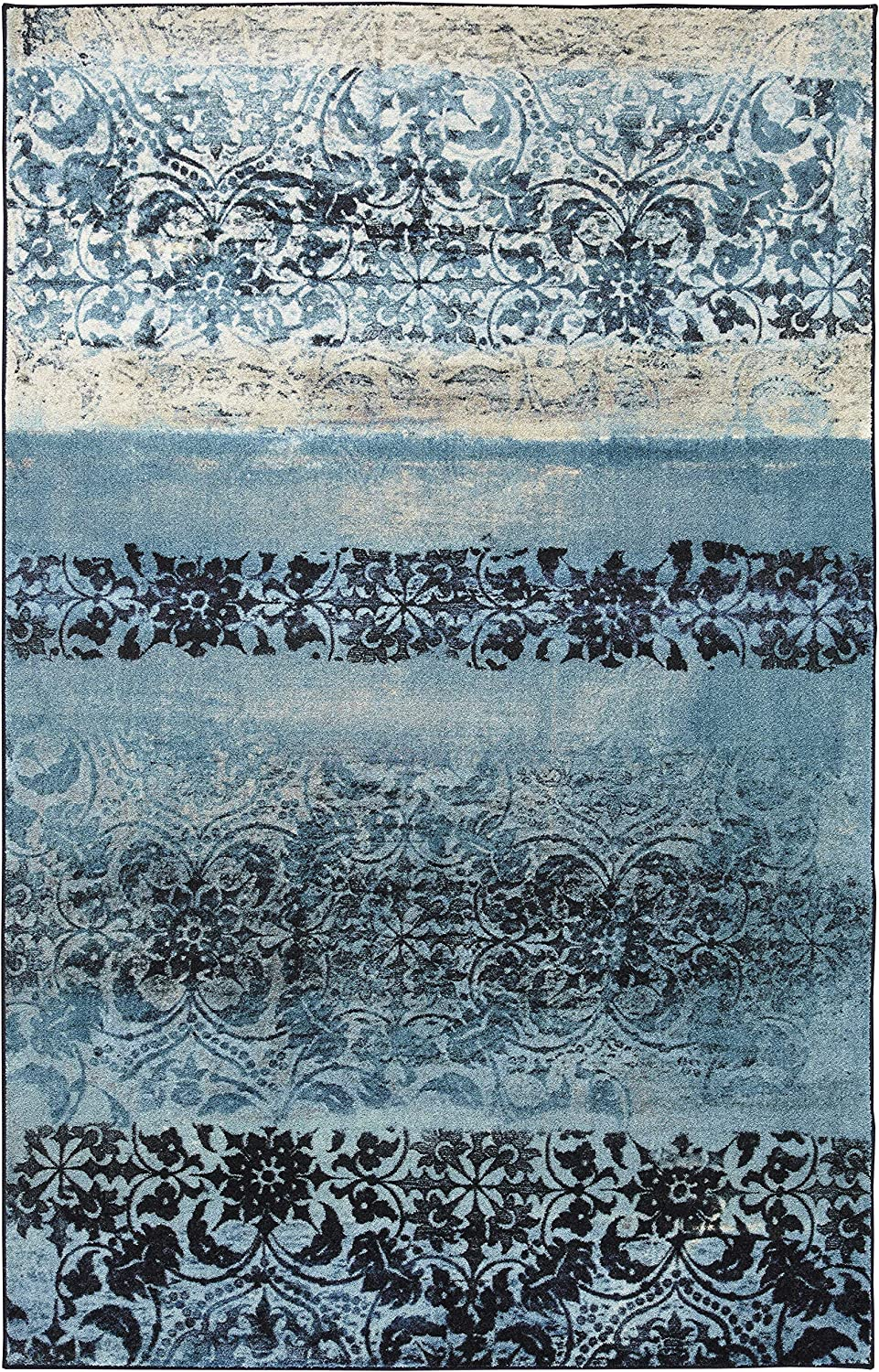 Mohawk Home Blurred Baroque Navy Area Rug, 8'x10',