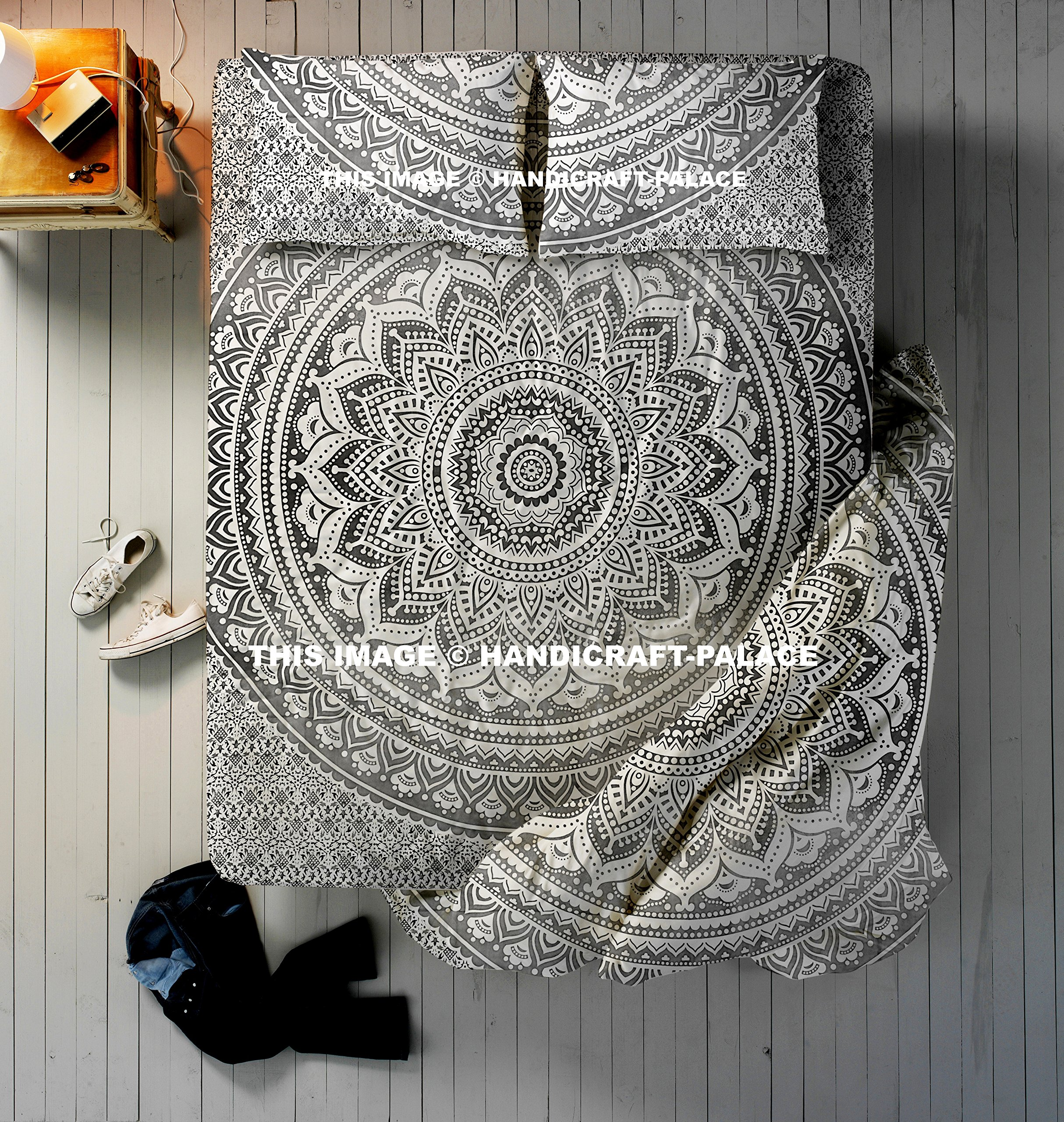 Ethnic Ombre Mandala Duvet Set ,1 Cotton Handmade Queen Size Reversible Doona Quilt Cover,1 Queen Size Wall Hanging Bed Sheet Tapestries, 2 PC Pillow Covers Cushion Cover