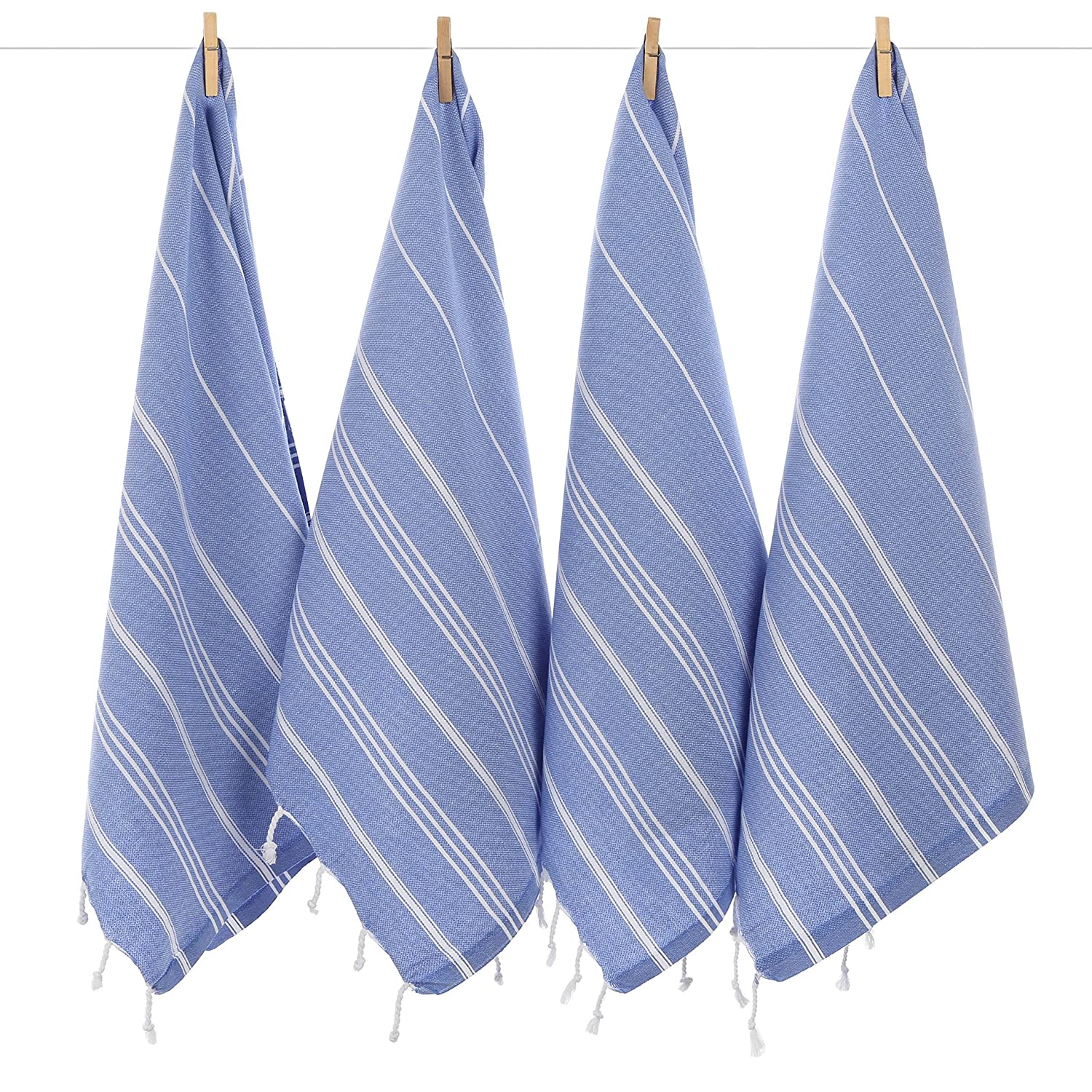 CACALA Pure Series - Set of 4 Turkish Peskir Hand & Face Towels Blue
