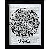 "Amazon Brand – Rivet Paris Map Vintage Dictionary Print, Black Frame, 20"" x 26"""