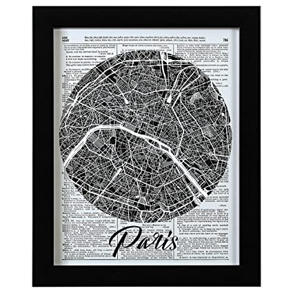 Rivet Paris Map Vintage Dictionary Print, Black Frame, 13