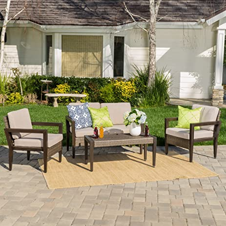 Bali Patio Furniture ~ 4 Piece Mid Century Styled Outdoor Wicker And  Aluminum Conversation (Chat
