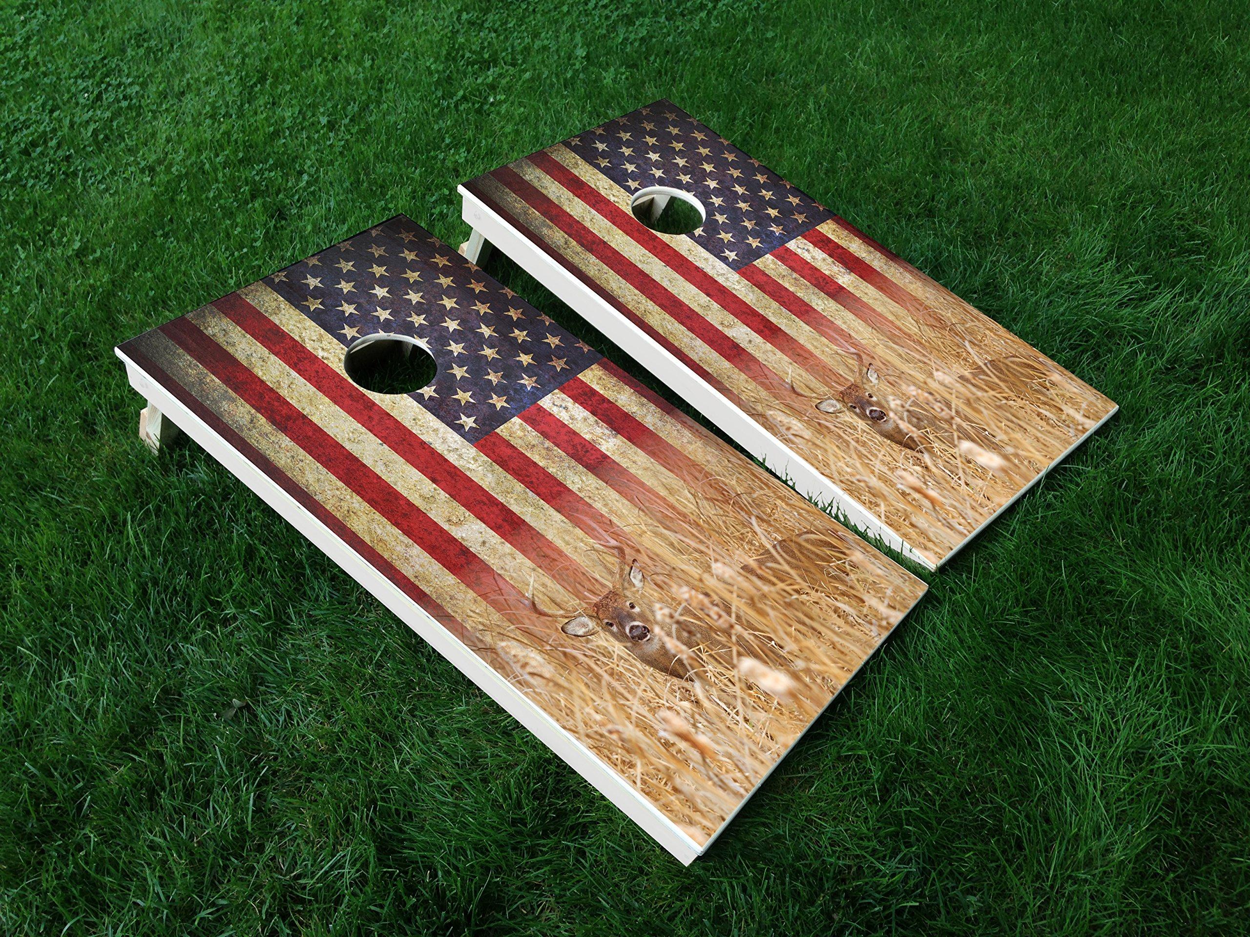 DISTRESSED AMERICA_Deer 01 USA FLAG Hunting CORNHOLE WRAP SET Vinyl Board DECAL Baggo Bag Toss Boards MADE IN the USA