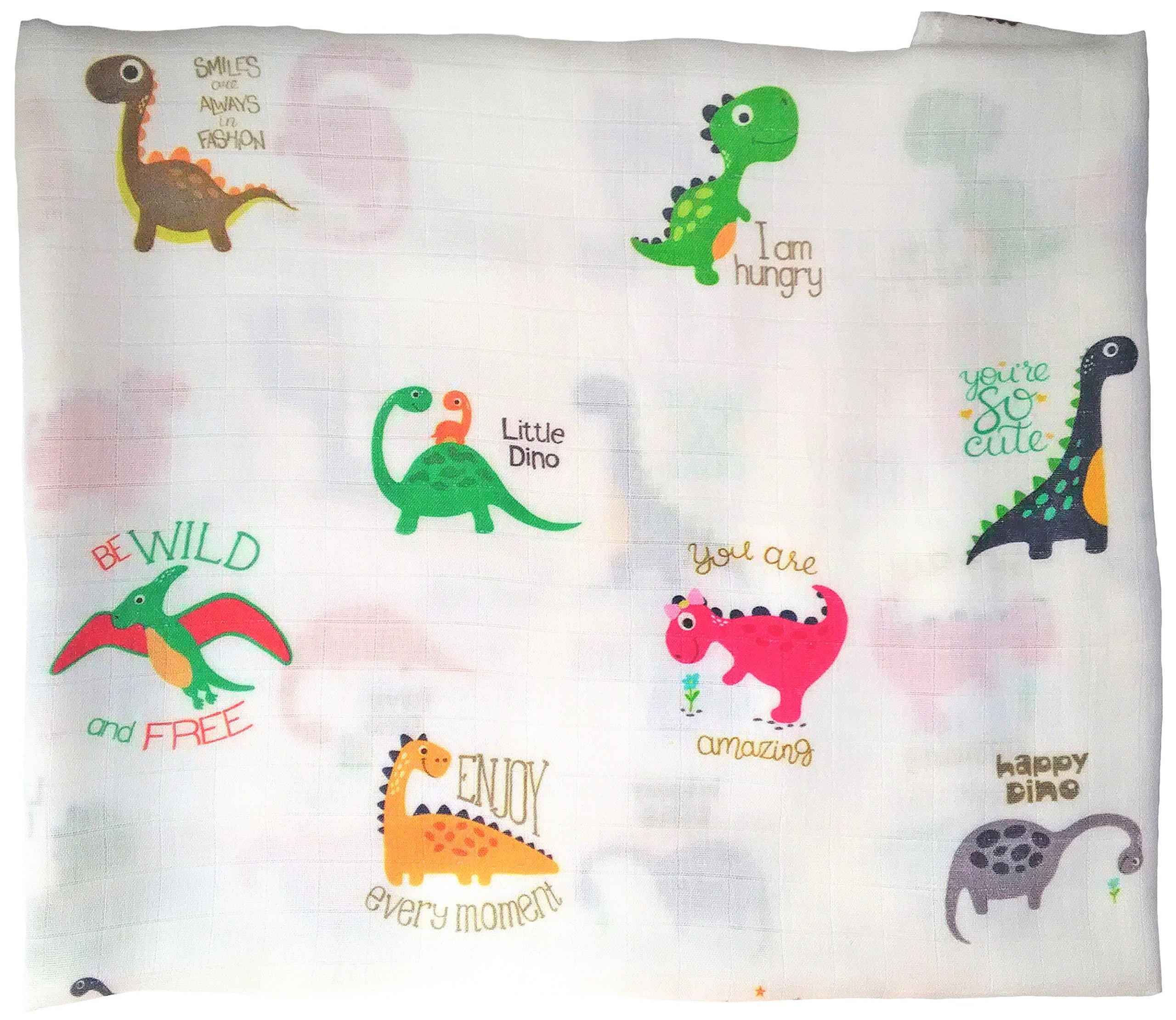 Baby Muslin Swaddle Blanket - Large 47'' x 47'' - 100% Organic Bamboo Cotton Receiving Blanket - Super Soft Burp Cloth, Stroller Cover - Newborn Gender Neutral Unisex Girl Boy - Funny Dinosaurs