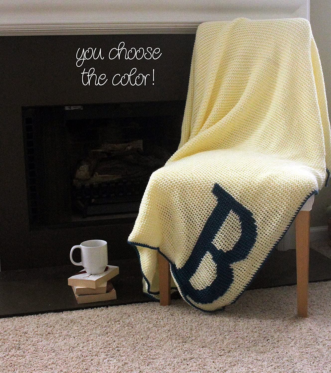 Image of Afghan Throw Blanket Crochet - Solid Off White Afghan with Deep Blue Initial Monogram - Made To Order Home and Kitchen