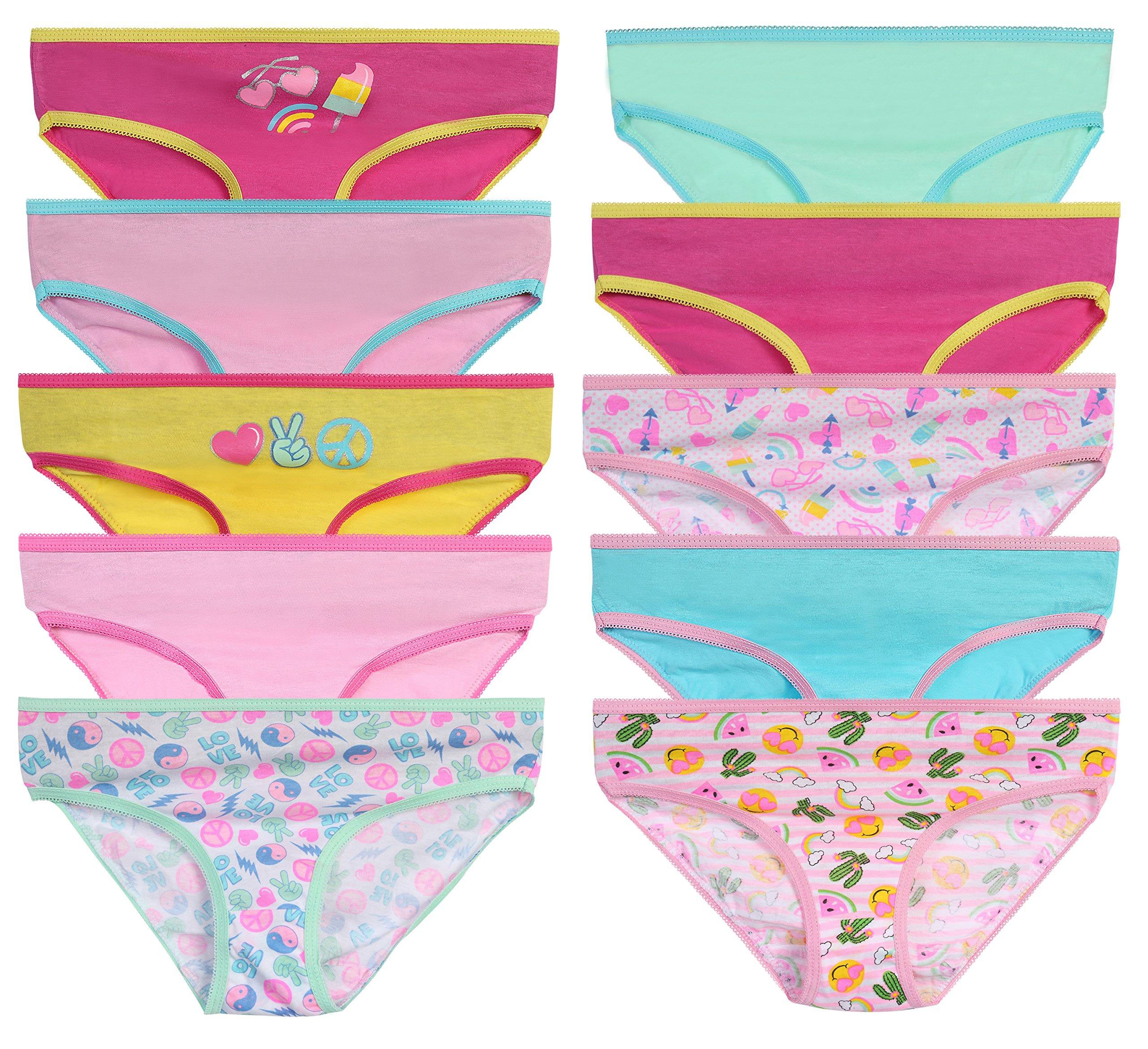 Sweet & Sassy Girls Underwear Panties, Size 4T, Peace, 10 Pack'