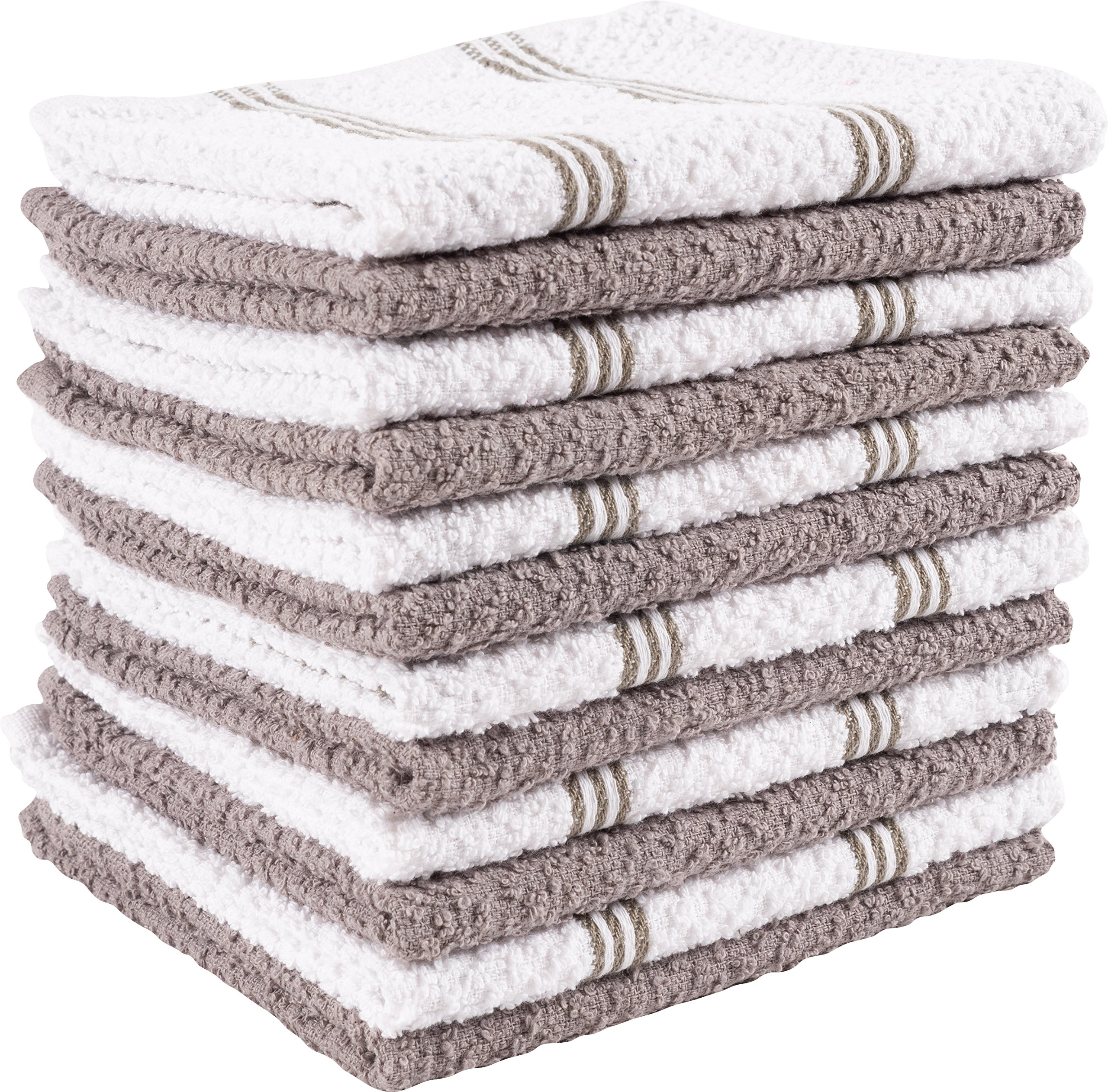 KAF Home Pantry Piedmont Dish Cloths (Set of 12, 12x12 inches), 100% Cotton, Ultra Absorbent Terry Towels - Pewter