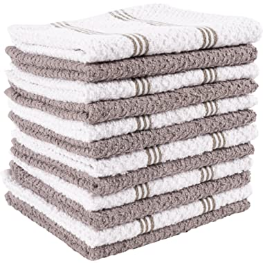 KAF Home Pantry Piedmont Terry Dish Cloths | Set of 12, 12 x 12 inches, Absorbent Terry Dish Cloths, Wash Cloths, Bar Mop Rags | Perfect for Spills, and Wiping Counter Tops - Dark Gray