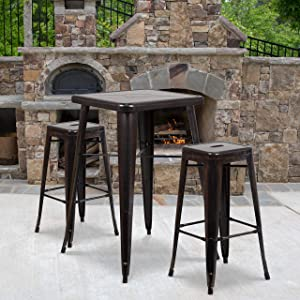 "Flash Furniture Commercial Grade 23.75"" Square Black-Antique Gold Metal Indoor-Outdoor Bar Table Set with 2 Square Seat Backless Stools"