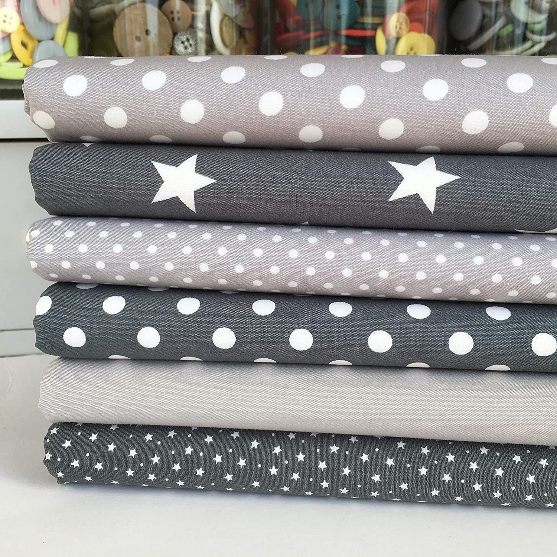 Grey /& White Fabric Bundle Stars /& Spots 4 Fat Quarters 100/% Cotton Poplin