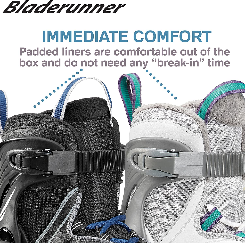 US Size 12 Recreational Rollerblade Bladerunner Ice Zephyr Mens Adult Ice Skates Ice Skates Black and Blue
